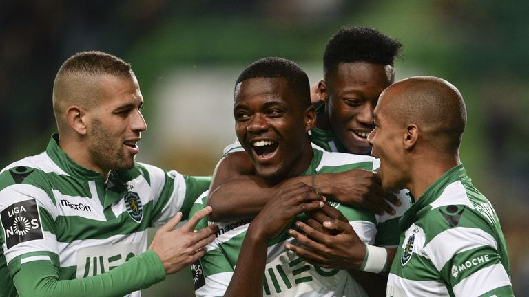 Reported Arsenal and Man Utd target William Carvalho (second left) has signed a new contract at Sporting