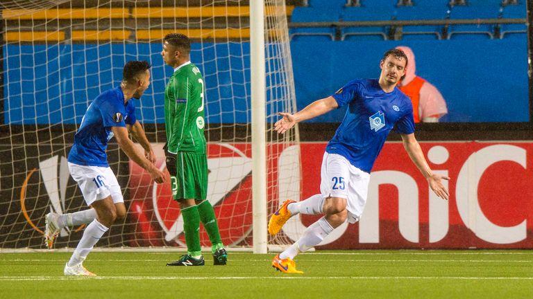 Molde's Vegard Forren (right) celebrates scoring in Molde's 3-1 win last month