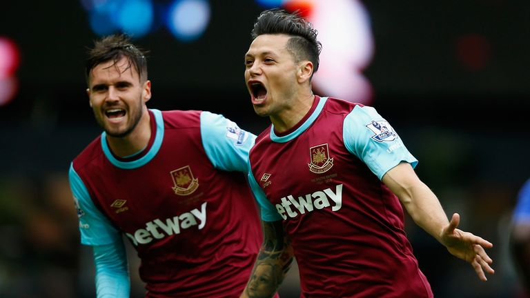 West Ham's Mauro Zarate celebrates after scoring the opener