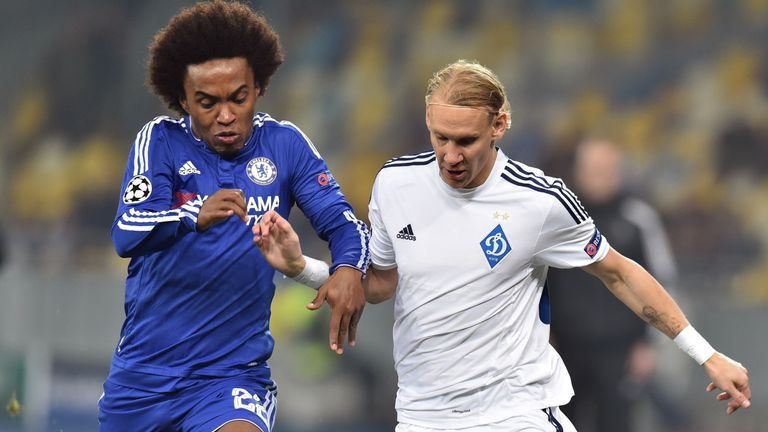 Willian (left) went close for Chelsea as he hit the crossbar