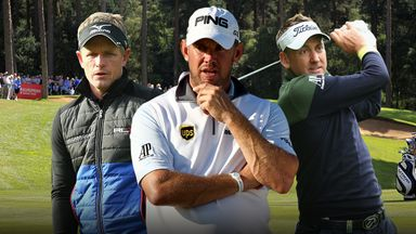 Luke Donald, Lee Westwood and Ian Poulter in front of the 14th green at Woburn