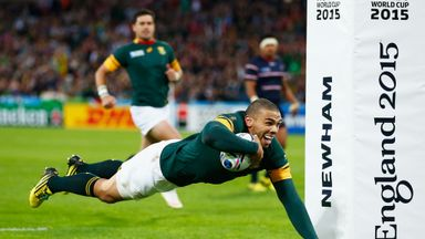 Bryan Habana crosses for his second try at the Olympic Stadium