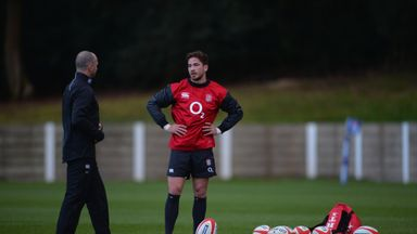 Danny Cipriani and Mike Catt during an England training session