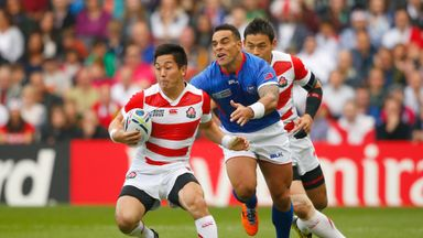 Samoa scrum-half Kahn Fotuali'i (middle) will captain the side against Scotland