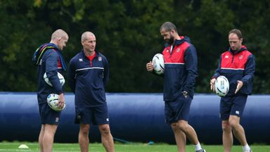 Stuart Lancaster (second from left) and his coaching staff during a training session on Tuesday