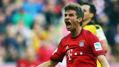Thomas Muller celebrates his effort against Dortmund