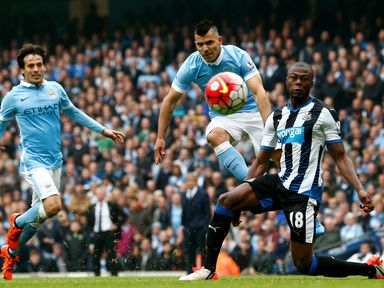 Sergio Aguero scores his fourth and Manchester City's fifth goal