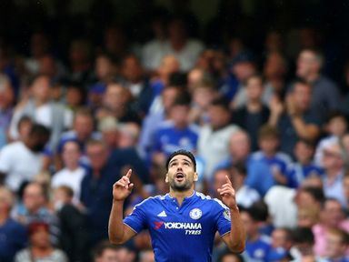 Radamel Falcao of Chelsea celebrates