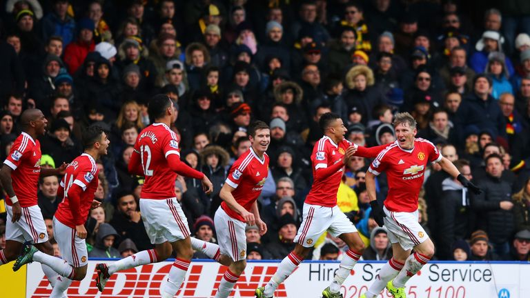 Bastian Schweinsteiger (R) had a hand in United's late winner against Watford