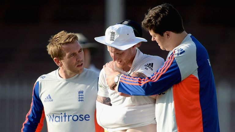 Ben Stokes is escorted from the field in Sharjah