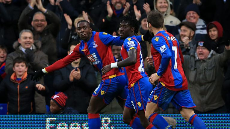 Yannick Bolasie leads the celebrations in Palace's 5-1 victory over Newcastle