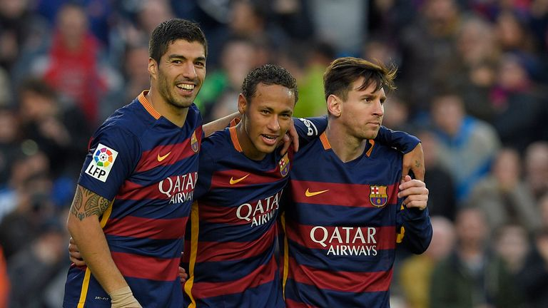 Luis Suarez (left), Neymar (centre) and Lionel Messi (right) will be looking to extend Barcelona's 39-game unbeaten run against Real Madrid on Saturday