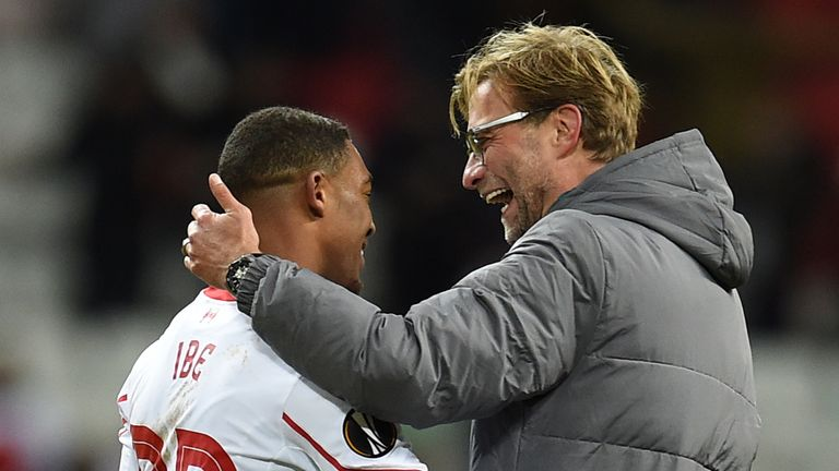 Jurgen Klopp (R) and Jordon Ibe celebrate after their victory over FC Rubin Kazan in the Europa League.