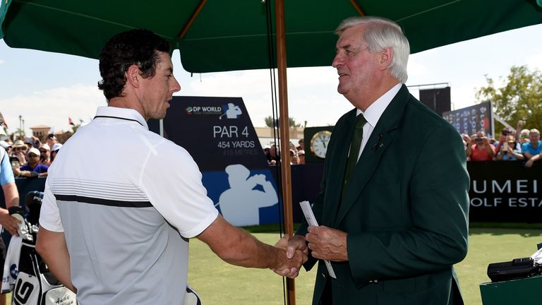 Rory McIlroy, who was playing in the final group with Andy Sullivan on Sunday, says goodbye to Robson in Dubai