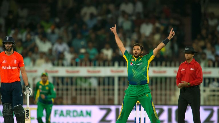 Pakistan's Shahid Afridi celebrates in his unique style against England in their recent T20I series