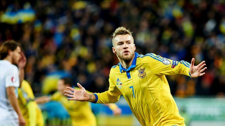 Andriy Yarmolenko celebrates putting Ukraine ahead