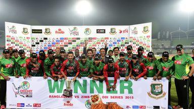 Bangladesh celebrate their 3-0 series win over Zimbabwe