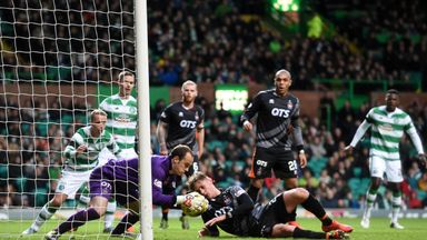 Celtic's Leigh Griffiths (far left) rues a missed chance in the first half against Kilmarnock as Jamie MacDonald gathers the ball