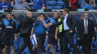 Mark Warburton (second left) and Alan Stubbs (second right) are overseeing a thrilling title race