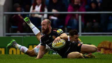 James Short of Exeter Chiefs dives over for his side's first try