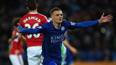Jamie Vardy celebrates his record-breaking strike against Manchester United