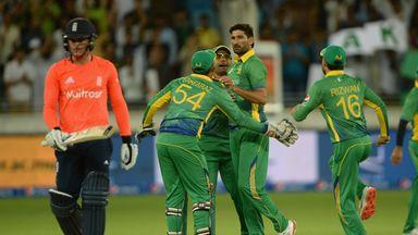 Sohail Tanvir of Pakistan celebrates dismissing Jason Roy of England