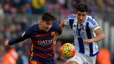 Lionel Messi battles for the ball in Barcelona's win