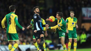 Olivier Giroud of Arsenal and Gary O'Neil of Norwich City battle for the ball