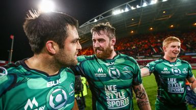 Connacht's Ronan Loughney and Aly Muldowney celebrate their win over Munster
