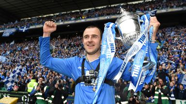 St Johnstone captain Dave Mackay with the Scottish Cup trophy in May 2014