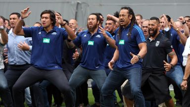 Tana Umaga (front right) was among the former All Blacks to perform a haka during Jonah Lomu's memorial service