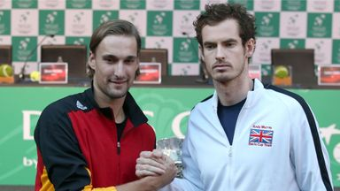 Great Britain's Andy Murray and Belgium's Ruben Bemelmans after the draw for the Davis Cup