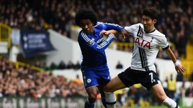 Willian of Chelsea battles with Son Heung-Min of Tottenham