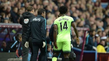 Manchester City's Ivorian striker Wilfried Bony walks off the pitch after hurting his hamstring against Aston Villa