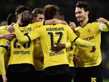Dortmund players celebrate following Pierre-Emerick Aubameyang's goal