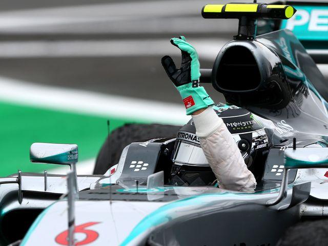 Nico Rosberg celebrates winning the Brazilian Grand Prix