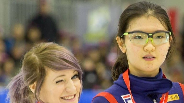 Elise Christie shows off her latest medal won in Canada