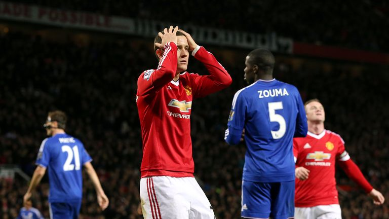 Manchester United's Ander Herrera rues a missed chance against Chelsea