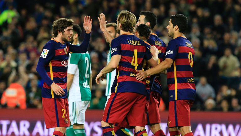 Barcelona celebrate during the 4-0 win over Real Betis