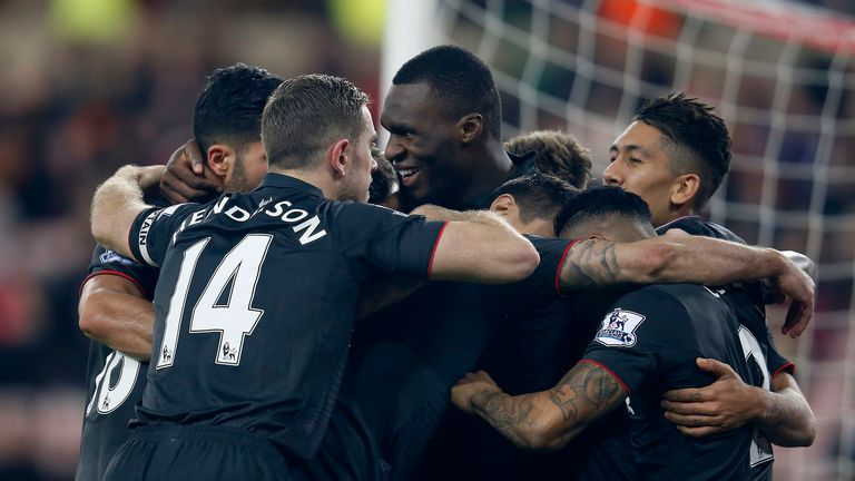 Liverpool's Christian Benteke celebrates the winner at Sunderland