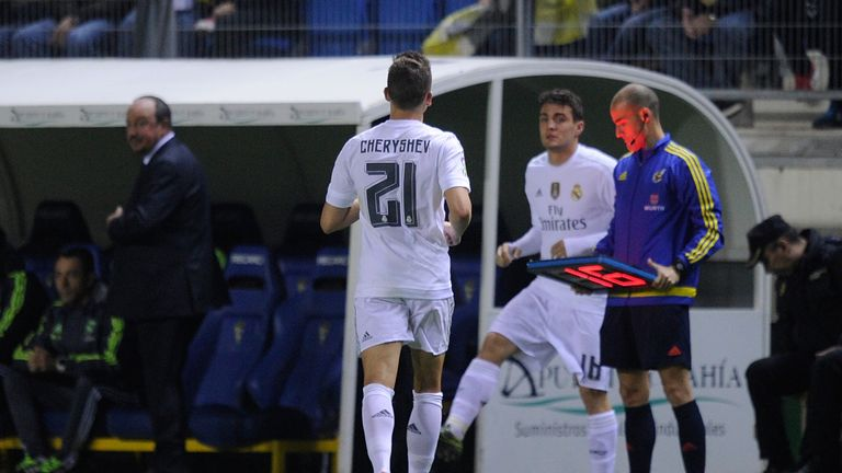 Cheryshev (No 21) was substituted at the start of the second half