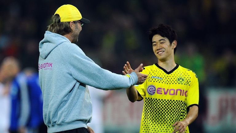 Jurgen Klopp with Shinji Kagawa - arguably Sven Mislintat's best discovery - back in 2011