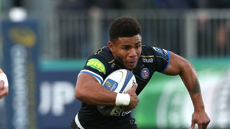 Kyle Eastmond of Bath runs with the ball against Leinster