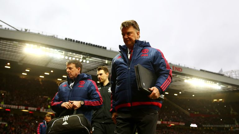 Louis van Gaal takes his seat before watching United fail to find the net against West Ham