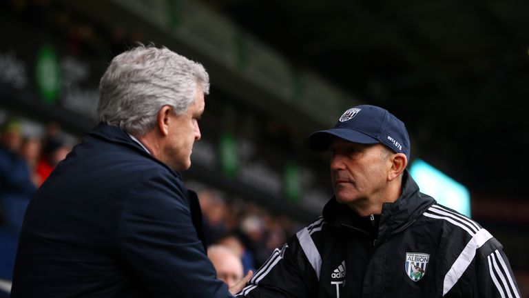 Pulis will be up against Mark Hughes again at Stoke this weekend