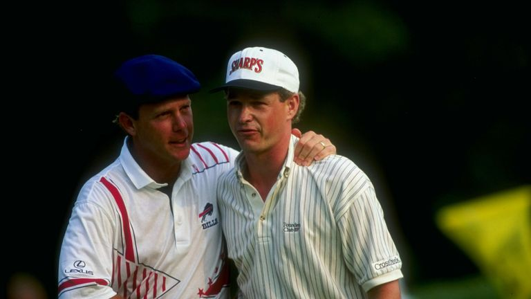 Payne Stewart congratulates Lee Janzen on winning the 1993 US Open, the first major covered live on Sky