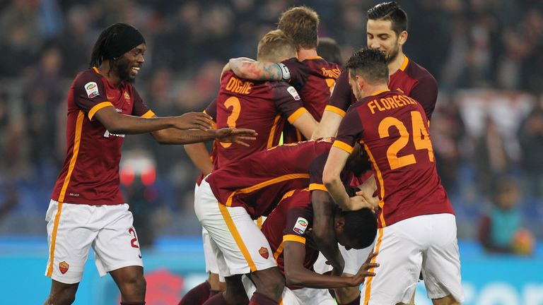 Umar Sadiq celebrates his Roma goal