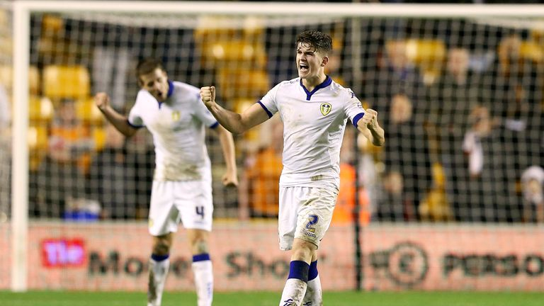 Byram celebrates after scoring a brace in Leeds' win at Wolves