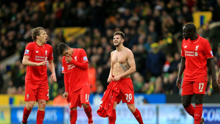 Adam Lallana (second right) will not be involved on Thursday but Lucas (left) will