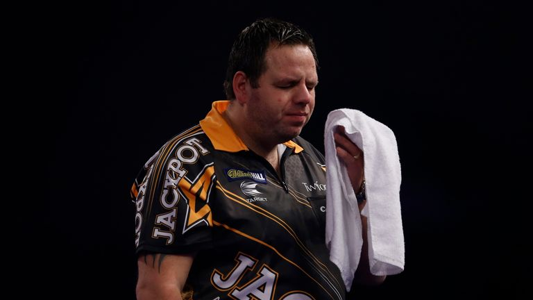 Adrian Lewis endured more title anguish against Anderson at Alexandra Palace